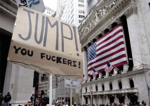 NY stock exchange in background with a Jump Fuckers protest sign in foreground