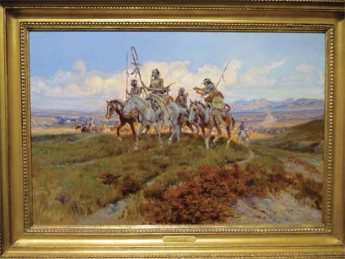 Charles Marion Russell painting with Indians on horses