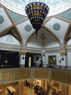 shrine interior with chandelier and pseudo-Islamic decor